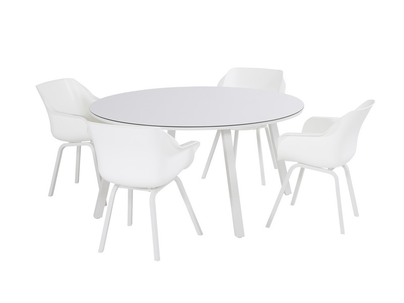 Hartman tuinset sophie element wit met sophie element tafel rond 150